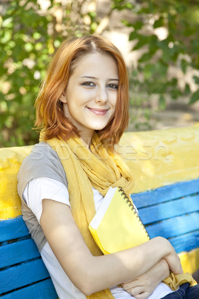 Red-haired student girl with notebook sitting at outdoor. Stock photo © Massonforstock