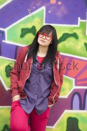 Stylu teen para graffiti miłości szczęśliwy Zdjęcia stock © Massonforstock