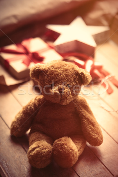 cute gift, star shaped toy, teddy bear and things for wrapping o Stock photo © Massonforstock