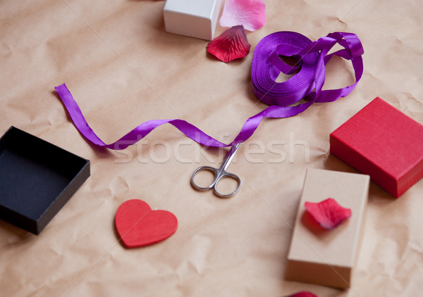 beautiful things for wrapping lying on the wonderful brown paper Stock photo © Massonforstock