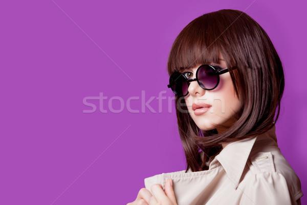 Fotó gyönyörű fiatal nő csodálatos lila stúdió Stock fotó © Massonforstock