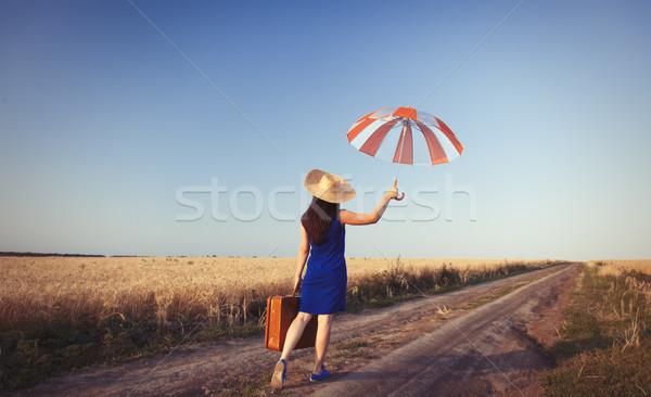Stock fotó: Lány · bőrönd · esernyő · vidék · út · természet