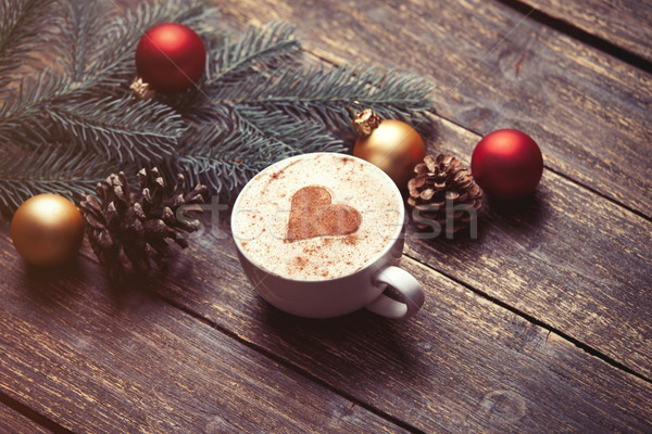 Cup of coffee and christmas toys  Stock photo © Massonforstock