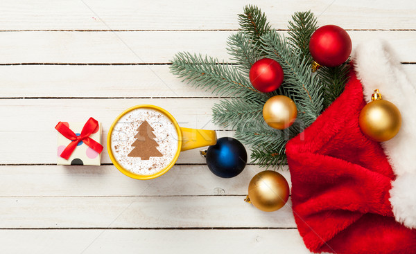 cappuccino with christmas tree shape Stock photo © Massonforstock