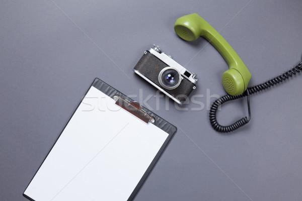 üzlet tábla zöld telefonkagyló retro kamera Stock fotó © Massonforstock