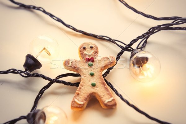 Fairy lights and gingerbread cookie Stock photo © Massonforstock
