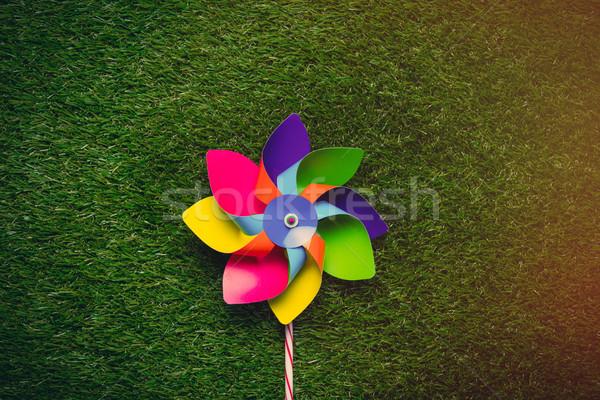 Multi colored pinwheel on spring green glass background, above v Stock photo © Massonforstock