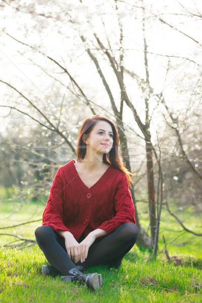 beautiful young woman sitting in front of wonderful blooming tre Stock photo © Massonforstock