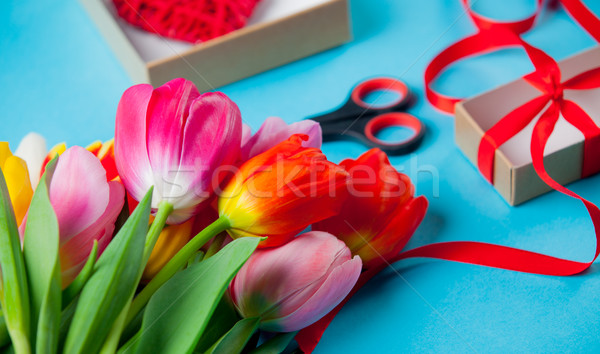 bunch of colorful tulips and things for wrapping on the wonderfu Stock photo © Massonforstock