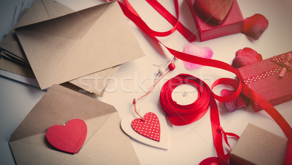beautiful things for wrapping lying on the wonderful white backg Stock photo © Massonforstock