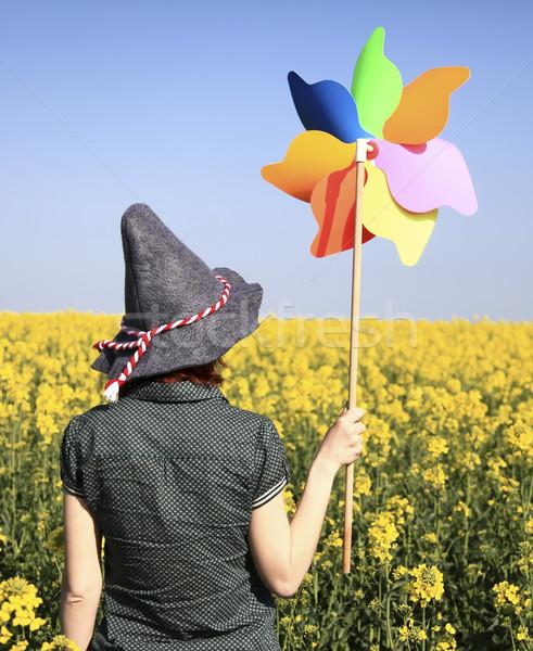 少女 風力タービン フィールド 空 女性 ストックフォト © Massonforstock