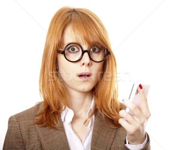 Stock foto: Funny · Business · Frauen · Gläser · fordern · Telefon