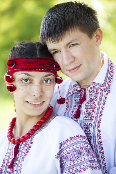 Slav girl and young cossack at nature. Stock photo © Massonforstock