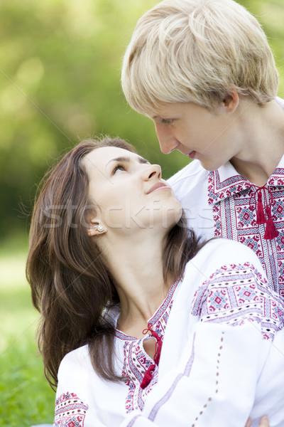 Slav teens in national Ukrainian clothing. Stock photo © Massonforstock