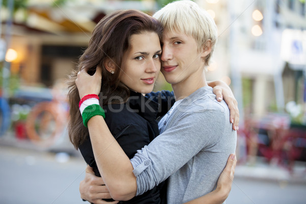 Young teen couple on the street Stock photo © Massonforstock