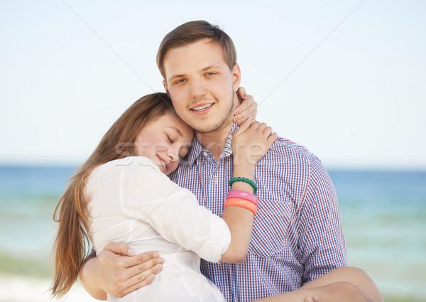 Foto stock: Retrato · moço · mulher · beijando · praia · menina