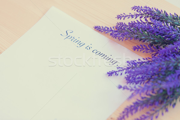 Paper with words Spring in coming  Stock photo © Massonforstock