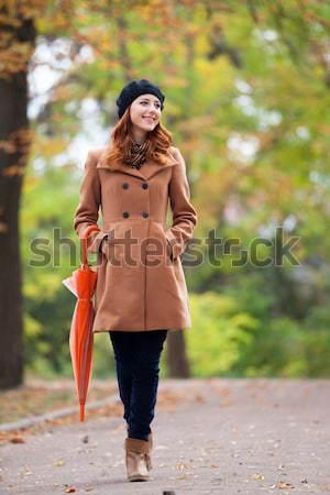 redhead women in tartan clothes  Stock photo © Massonforstock