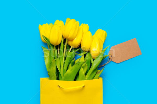 Foto stock: Monte · amarelo · tulipas · legal · bolsa · de · compras · preço