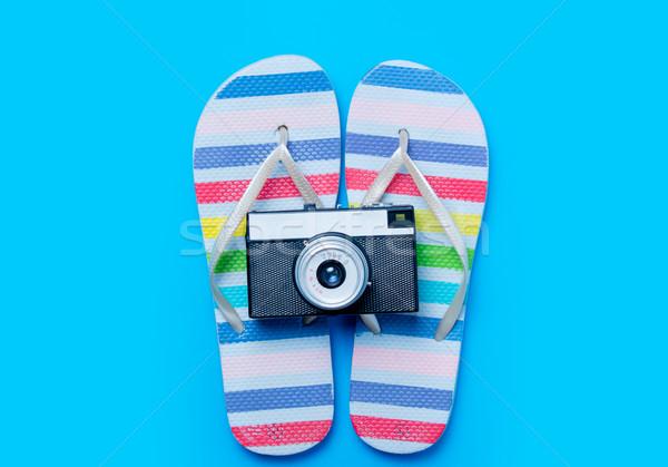 Kolorowy sandały retro kamery wspaniały niebieski Zdjęcia stock © Massonforstock