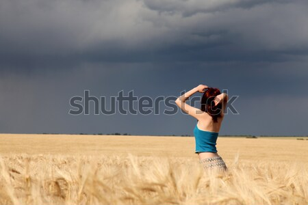 Mooi meisje regenachtig dag natuur regen Stockfoto © Massonforstock