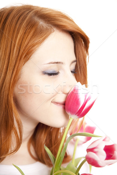 Fille tulipes printemps sourire visage heureux Photo stock © Massonforstock