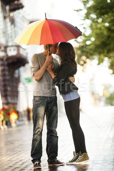 Ulicy miasta parasol człowiek czarny Zdjęcia stock © Massonforstock