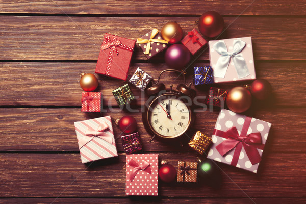 Stock photo: alarm clock and christmas baubles