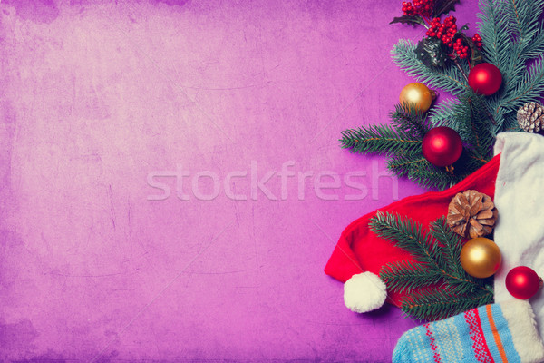 Santa Clous clothes and christmas branch Stock photo © Massonforstock