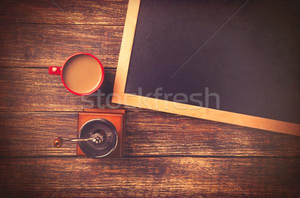 Csésze kávé daráló iskolatábla fa asztal iskola Stock fotó © Massonforstock