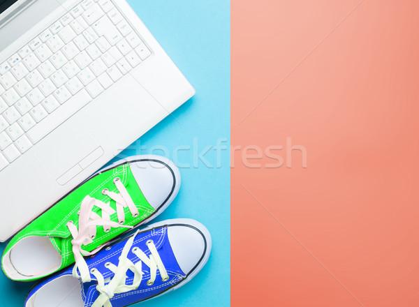 Moderna portátil colorido maravilloso arte pop estilo Foto stock © Massonforstock