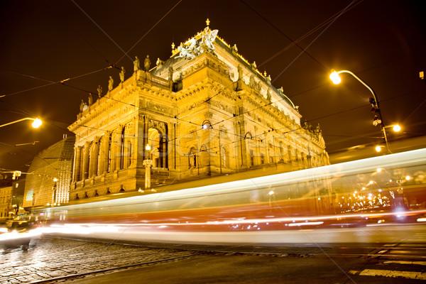 Teatro noche edificio pared luz ventana Foto stock © Massonforstock