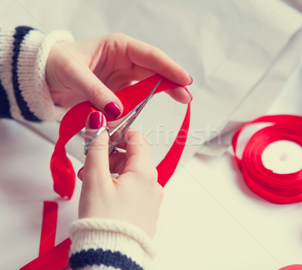 Woman cuts a red ribbon  Stock photo © Massonforstock