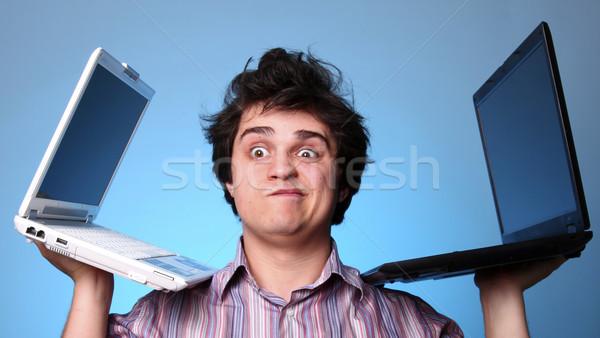 Rozczarowany chłopca dwa notebooki człowiek szkoły Zdjęcia stock © Massonforstock