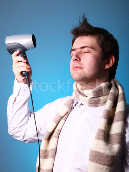 oy in scarf with hairdryer  Stock photo © Massonforstock