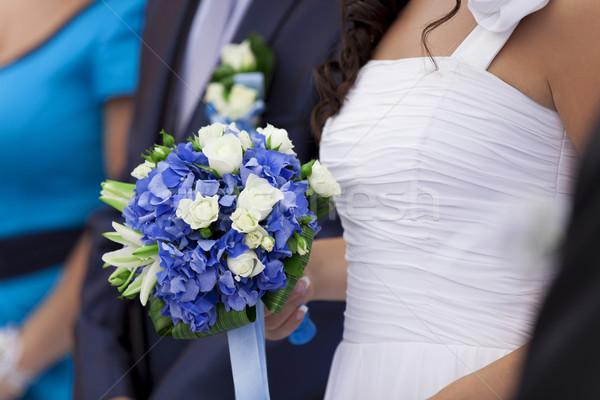 Casamento casal buquê primavera mão moda Foto stock © Massonforstock