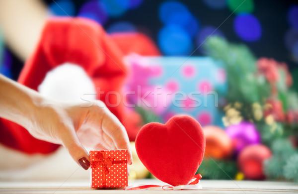 gift box near a heart shape toy  Stock photo © Massonforstock