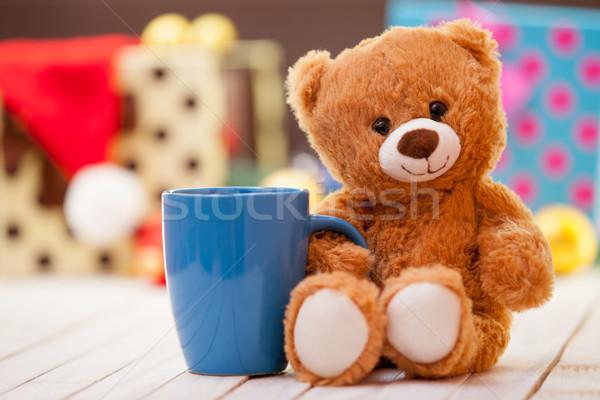 Сток-фото: мишка · Кубок · кофе · чай · Рождества · улыбка