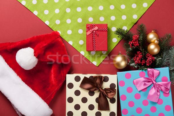 Karácsony ajándékok szalvéta piros doboz retro Stock fotó © Massonforstock