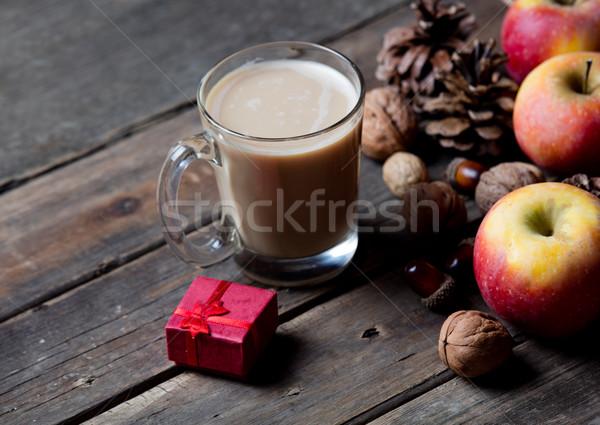 Stockfoto: Beker · koffie · klein · geschenk · noten · appels
