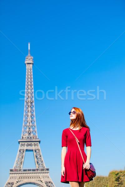 美しい 若い女性 エッフェル塔 パリ フランス 美 ストックフォト © Massonforstock