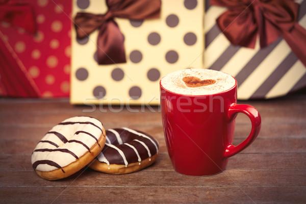 写真 カップ コーヒー ドーナツ 素晴らしい 贈り物 ストックフォト © Massonforstock