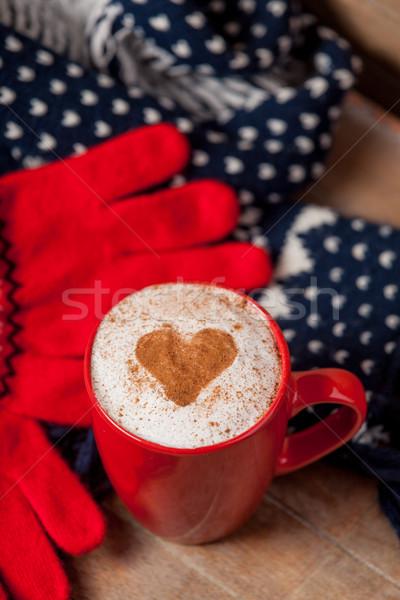 Foto taza café bufanda guantes maravilloso Foto stock © Massonforstock