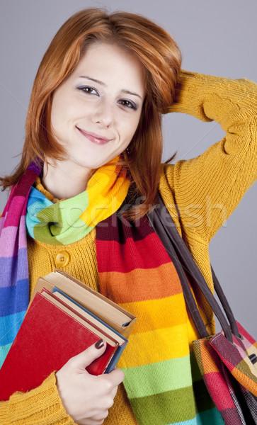 Foto stock: Jóvenes · estudiante · nina · libros · moda