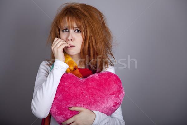 Szomorú lány szív Valentin nap nap nő Stock fotó © Massonforstock