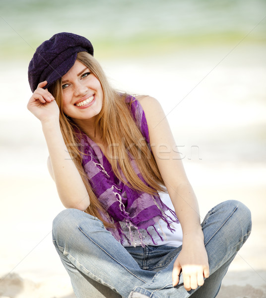Funny teen girl near the sea. Stock photo © Massonforstock