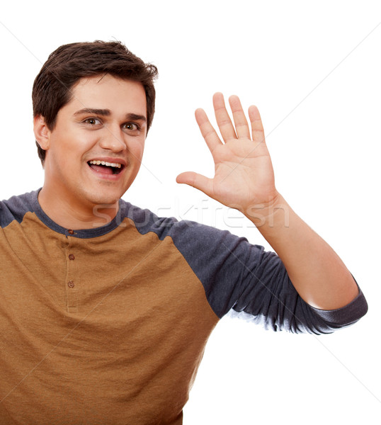 Style man cry at white background. Stock photo © Massonforstock