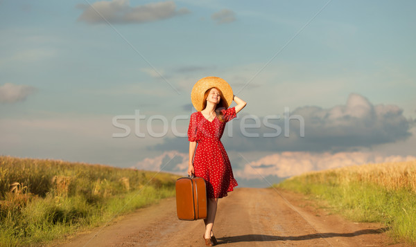 Stok fotoğraf: Kız · bavul · açık · kadın · moda