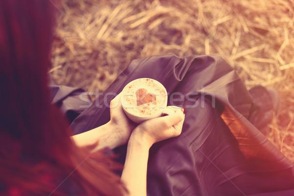 Femme tasse cappuccino extérieur automne temps Photo stock © Massonforstock