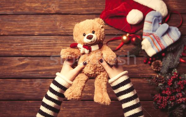 Kadın küçük oyuncak ayı Noel hediyeler Stok fotoğraf © Massonforstock
